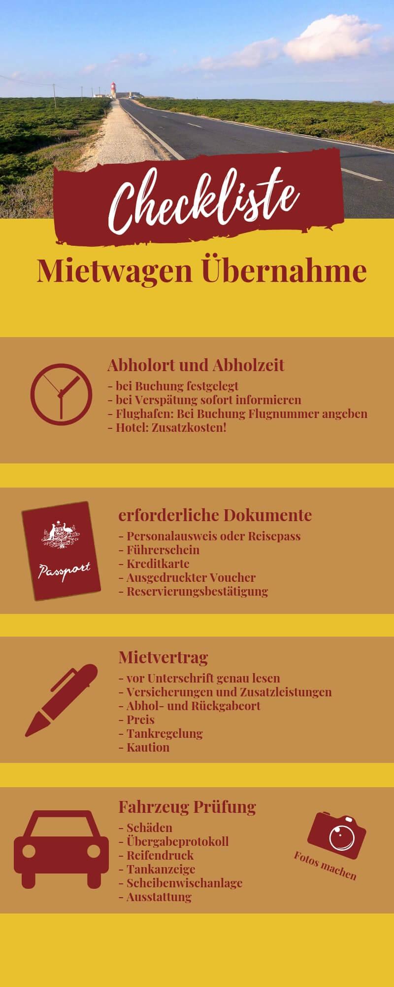 Checkliste Mietwagen Übernahme
