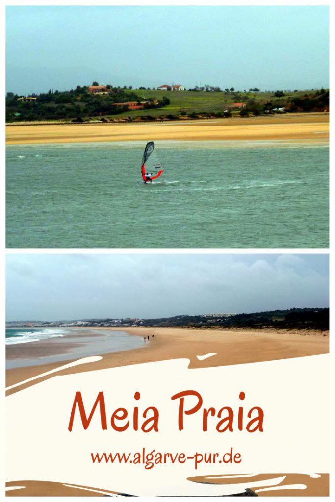 Der Meia Praia ist ein sehr langer Strand. Er befindet sich in Lagos, einem der großen Orten in der Algarve. Wer im Familienurlaub gerne Wassersport machen möchte, der sollte hier her kommen. In Lagos gibt es jede Menge Surfschulen, die auch Kurse für Kinder anbieten. Aber nicht nur Surfen, auch Kitesurfen, Windsurfen, Wasserski, Segeln und vieles mehr sind in Lagos am Meia Praia möglich. Auch hier weht die Blaue Flagge, es gibt diverse Restaurants mit WC und Badeaufsicht über die gesamte Länge des Strandes verteilt.