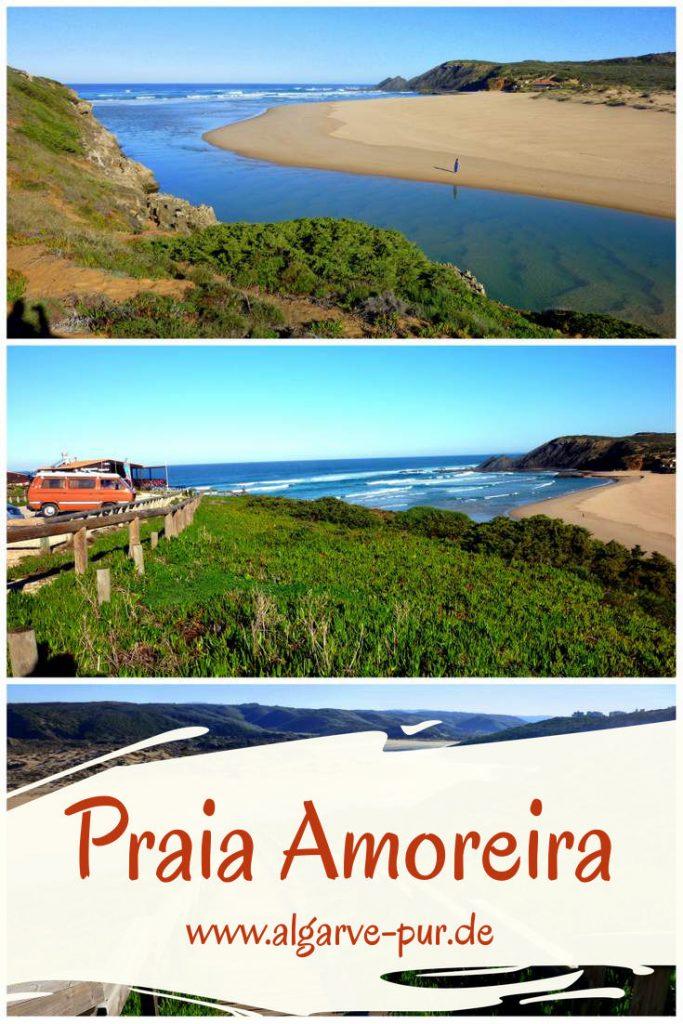 Praia da Amoreira – mein Lieblingsstrand an der Westküste Atemberaubend! Der Strand Praia da Amoreira bei Aljezur an der Westküste der Algarve ist für mich der schönste der ganzen Region. Er liegt am Ende eines Tales, durch das die Ribeira de Aljezur dem Meer entgegen strömt. Außergewöhnlich schön sind die Farben: Das Blau des Flusses, die dunklen Felsen und der helle Sand!
