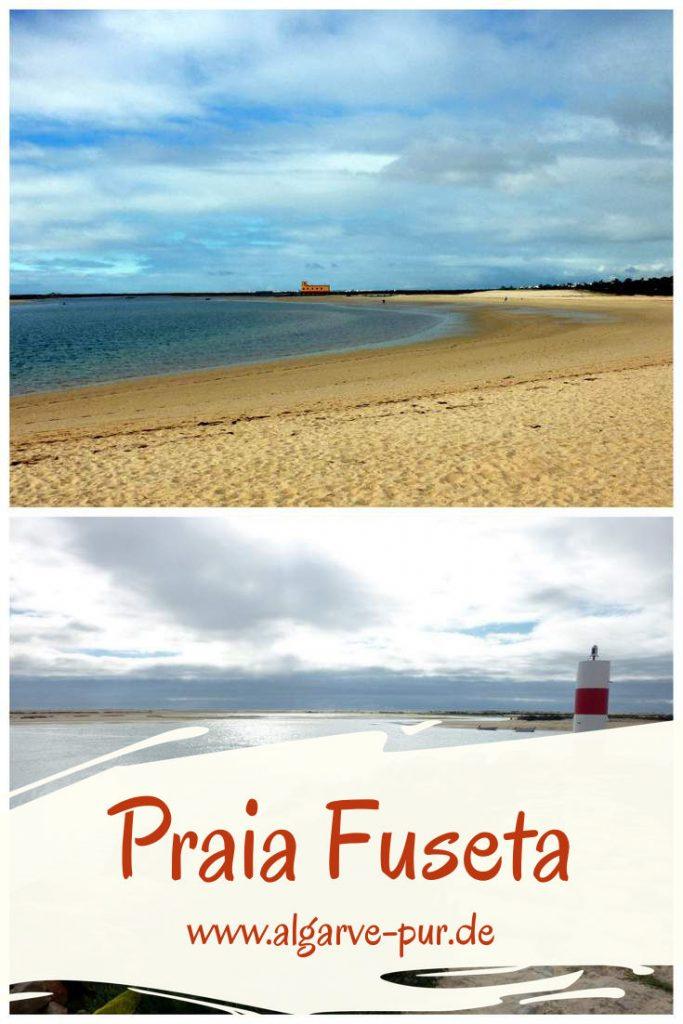In der Lagune Ria Formosa liegt der Strand Praia da Fuseta Ria. Er befindet sich direkt am Ort Fuseta. Hier badet man im ruhigen, warmen Wasser der Lagune, was besonders für kleinere Kinder großartig ist. Da der Ort so nah ist, gibt es keine Versorgungsprobleme. Direkt am Strand gibt es ein Restaurant, sanitäre Anlagen und eine Badeaufsicht.