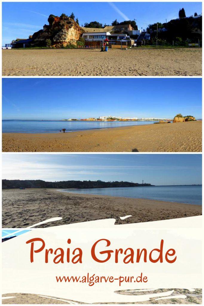 In Ferragudo befindet sich der Praia Granda. Dieser Strand ist besonders empfehlenswert für kleine Kinder. Er liegt hinter der Mole, die die Hafeneinfahrt von Portimao und Ferragudo vor den Wellen des Atlantiks schützt. So ist das Wasser hier sehr ruhig. Im hübschen Ferragudo gibt es viele Ferienunterkünfte. Am Strand gibt es mehrere Restaurants mit WC, eine Badeaufsicht im Sommer und einen Spielplatz.