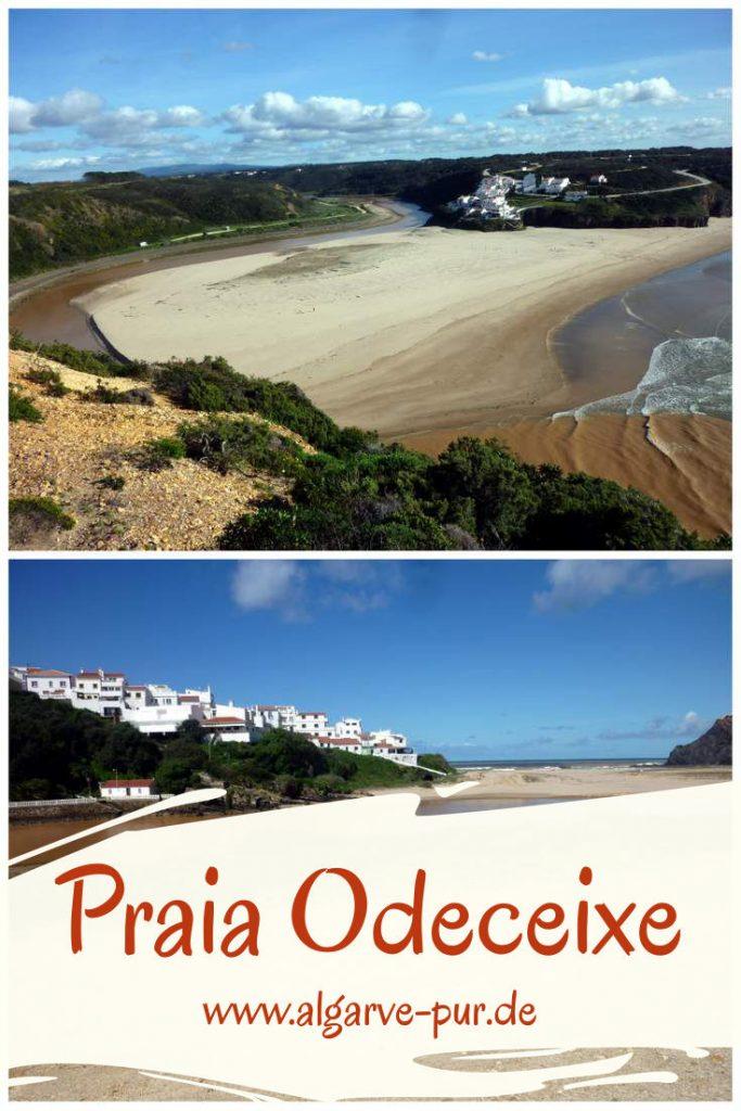 Praia de Odeceixe – Traumstrand an der Westküste Der Strand Praia de Odeceixe ist eine Landzunge, die komplett mit Sand bedeckt ist und daher aussieht wie eine große Düne. Sie trennt den Fluss Ribeira de Seixe, der hier in den Atlantik mündet. Er windet sich in zwei weiten Bögen am Strand vorbei, wobei er den Strand halb umrundet, um dann im Norden des Tales ins Meer zu fließen.