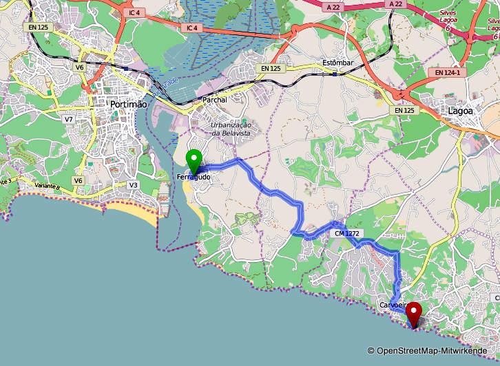 Route Ferragudo Algar Seco
