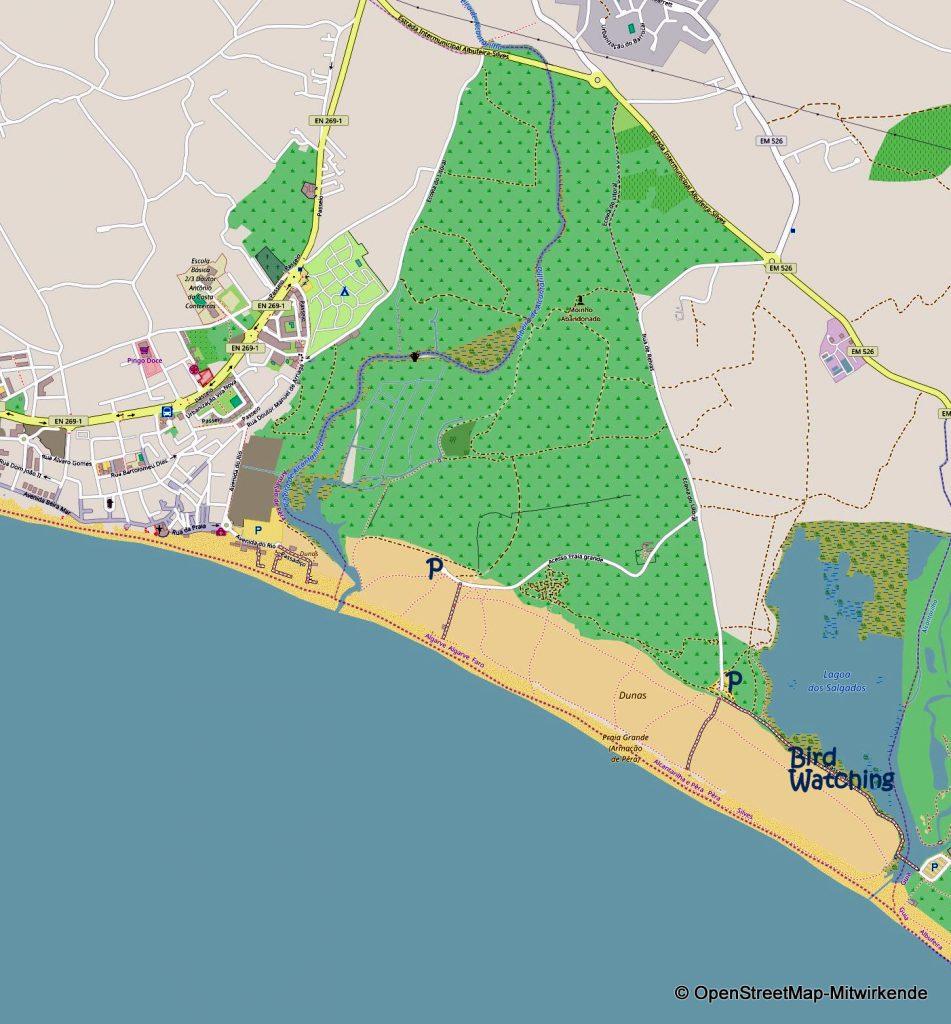 Karte Praia Armacao de Pera