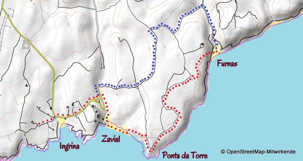 Karte wandern Ingrina Furnas