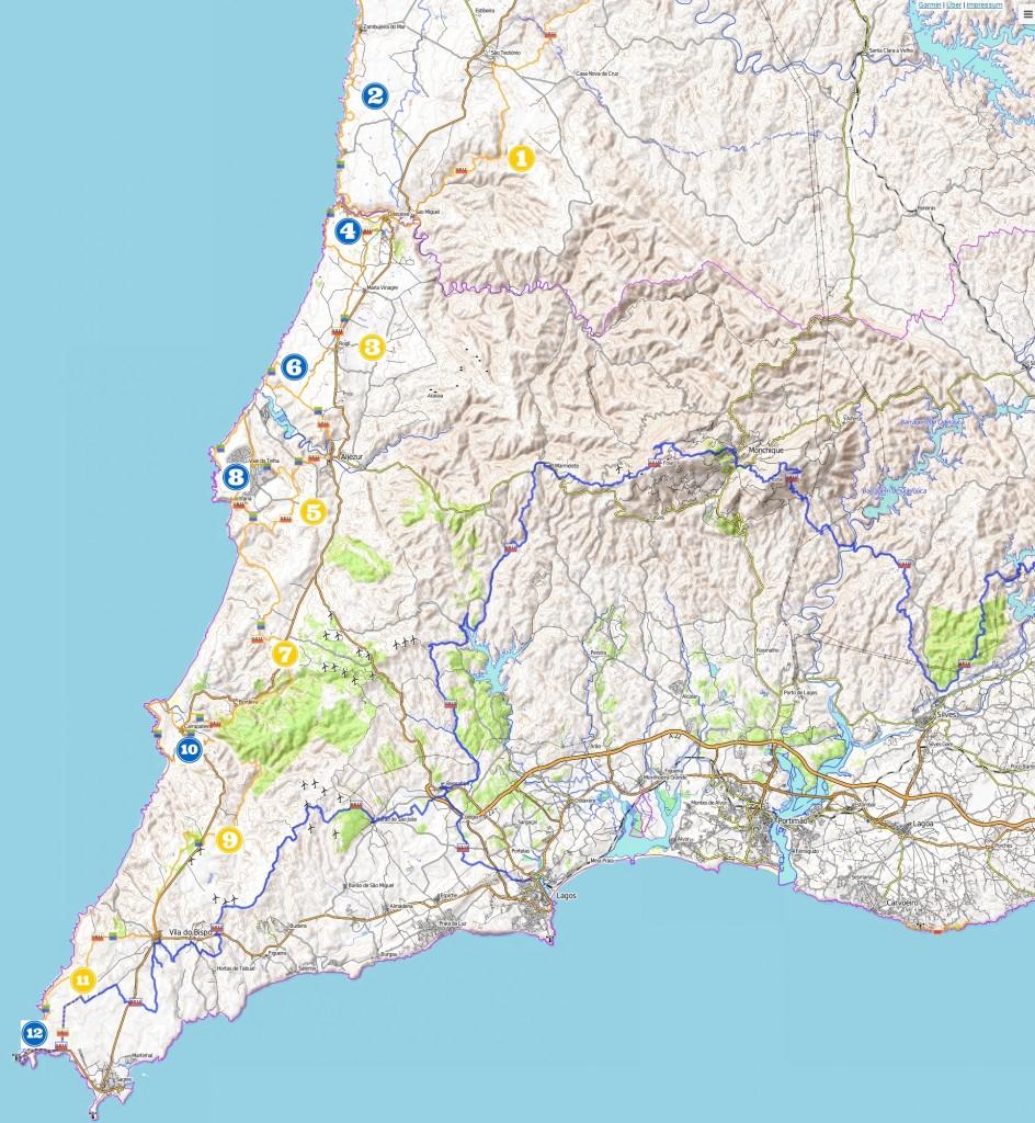 Rota Vicentina Karte mit Etappen